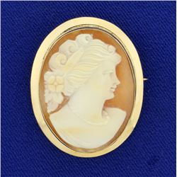 Antique Cameo Pin in 14K Yellow Gold