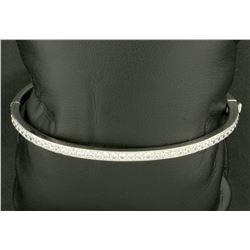 Sterling Silver Bangle Bracelet with CZ Gemstones