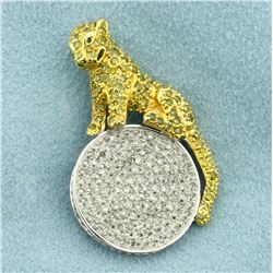 Designer Peridot and Diamond Jaguar Pendant in 10K Yellow and White Gold