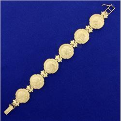 Ancient Greek or Roman Profile Design Bracelet in 14K Yellow Gold