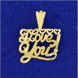 I Love You! Pendant in 14K Yellow Gold