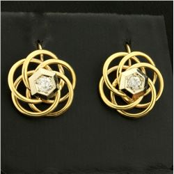 1/3ct TW Diamond Screw Back Earrings for Non-Pierced Ears in 10K Yellow and White Gold