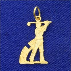 Golf Pendant or Charm in 14K Yellow Gold