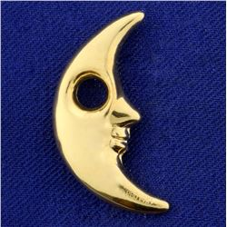 Man In The Moon Pendant in 14K Yellow Gold