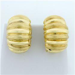 Half Hoop Wide Designer Earrings in 14K Yellow Gold
