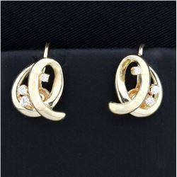 Diamond Screw-back Earrings in 14K Yellow Gold