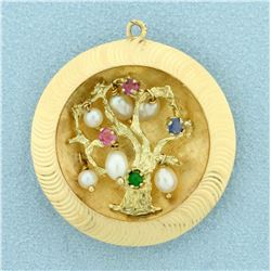 Unique Gemstone and Pearl Tree Pendant in 14K Yellow Gold