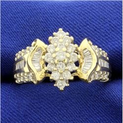 .95ct TW Round and Baguette Diamond Ring in 14K Yellow Gold