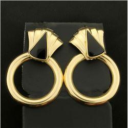 Onyx Dangle Drop Circular Earrings in 14K Yellow Gold
