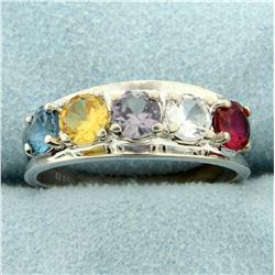 Multi-Color Topaz Ring in 14K White Gold