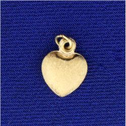 Matte Finish Heart Charm or Pendant in 14K Yellow Gold