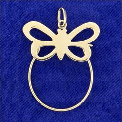 Butterfly Charm-Holding Pendant in 14K Yellow Gold