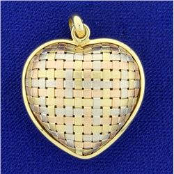 Italian Made Woven Design Heart Pendant in 18K Yellow, White, and Rose Gold