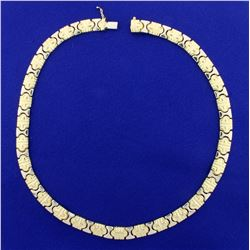 Designer Link Necklace in 18K Yellow and White Gold
