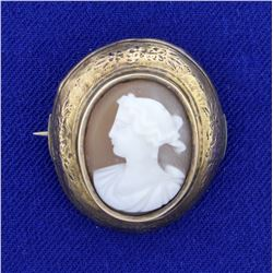 Antique Cameo Gold Pin in 14K Yellow Gold