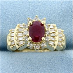 1ct Natural Ruby and Diamond Ring in 14K Yellow Gold