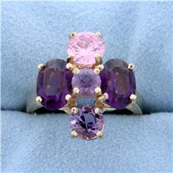 Purple and Pink Topaz Ring in 14K Yellow Gold