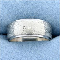 Textured Finish Wedding Band Ring in 14K White Gold