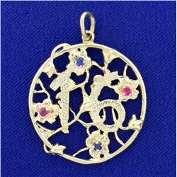"""Ruby and Sapphire """"16"""" Pendant in 14K Yellow Gold"""