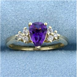 Pear Shaped Amethyst and Diamond Ring in 14K Yellow Gold