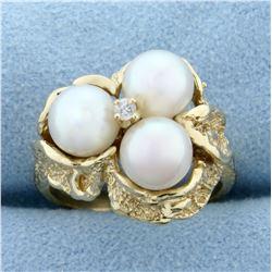Akoya Pearl and Diamond Ring in 14K Yellow Gold