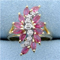 Pink Topaz and Diamond Ring in 14K Yellow Gold