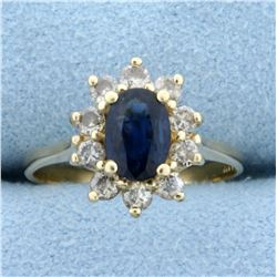 Natural Sapphire and Champagne Diamond Ring in 14K Yellow Gold