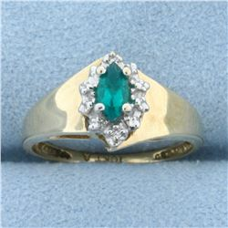 Lab Emerald and Diamond Ring in 10K Yellow and White Gold