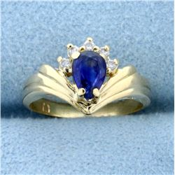 Pear Shaped Sapphire and Diamond Ring in 14K Yellow Gold