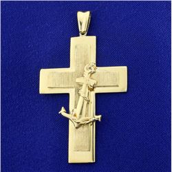 Heavy Anchor Cross Pendant in 18K Yellow Gold