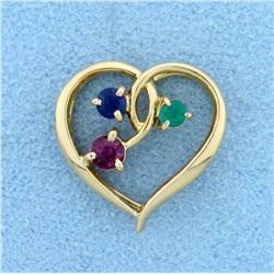Emerald, Ruby, and Sapphire Heart Pendant in 14K Yellow Gold
