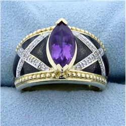 2ct Amethyst and Diamond Ring with Enamel in 14K Yellow Gold