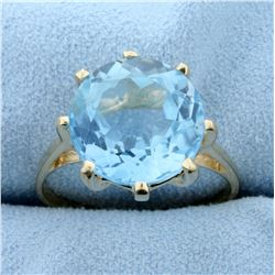 8ct Sky Blue Topaz Solitaire Ring in 14K Yellow Gold