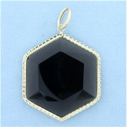 Large Hexagon Smoky Topaz Pendant in 14K Yellow Gold