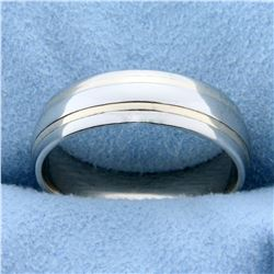 Men's Wide Wedding Band Ring in 14K Yellow and White Gold
