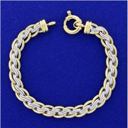 Designer Cable Link Bracelet in 18K Yellow and White Gold