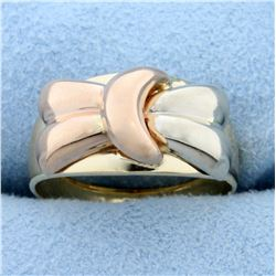 Italian Made Bow Design Ring in 14K Yellow, White, and Rose Gold