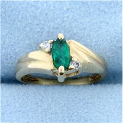 Child's Emerald and Diamond Ring in 14K Yellow Gold