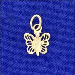 Butterfly Charm or Pendant in 14K Yellow Gold