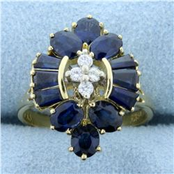 High Quality Natural Sapphire and Diamond Ring in 18K Yellow Gold