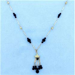 Unique Beaded Onyx Necklace in 10K Yellow Gold