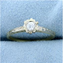 Antique Old European Cut Diamond Solitaire Ring in 14K Yellow and White Gold