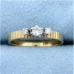 Vintage Engine Turned Band Three-Stone Diamond Ring in 14K Yellow Gold