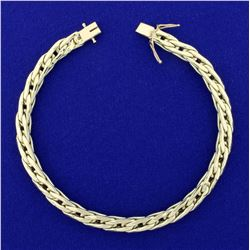 Flat Curb Link Bracelet in 14K Yellow Gold
