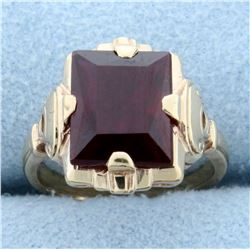 Antique 3ct Lab Ruby Solitaire Ring in 10K Rose Gold