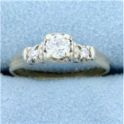 Antique Three-Stone European Cut Diamond Ring in 10K Yellow and White Gold