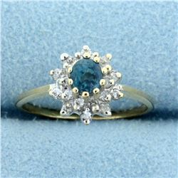 Natural Alexandrite and Diamond Ring in 14K Yellow Gold
