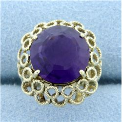 5ct Amethyst Statement Ring in 14K Yellow Gold