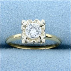 Vintage 1/2ct Diamond Solitaire Ring in 14K Yellow and White Gold