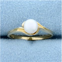 5.6mm Cultured Pearl Solitaire Ring in 10K Yellow Gold